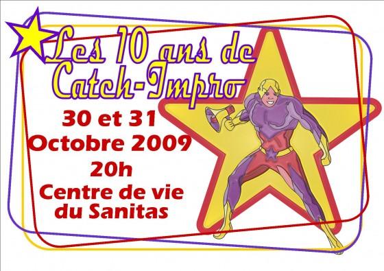 Affiche 10 ans Catch Impro Tours