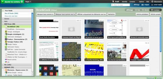 Interface de Netvibes Wasabi avec visualisation par vignettes