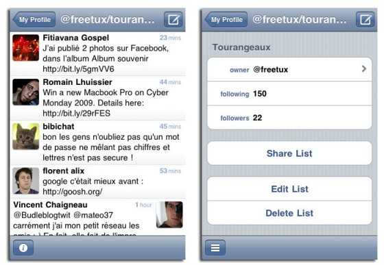 Interface de tweetie 2.1 présentant les listes Twitter