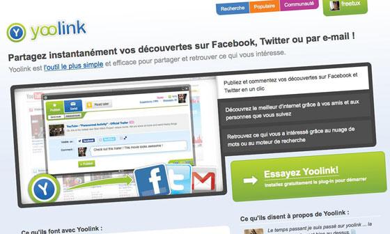 Homepage de Yoolink, le site de social Bookmark