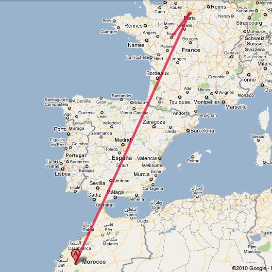 Trajet pour se rendre à Marrakech, Maroc