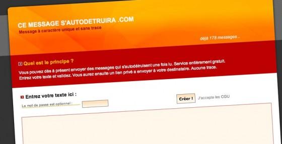 cemessagesautodetruira.com, un site pour créer des messages à utilisation unique