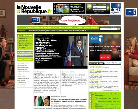 Aperçu du nouveau sit web de la Nouvelle République