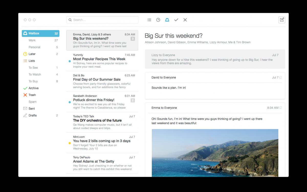 Mailbox est disponible sur mac