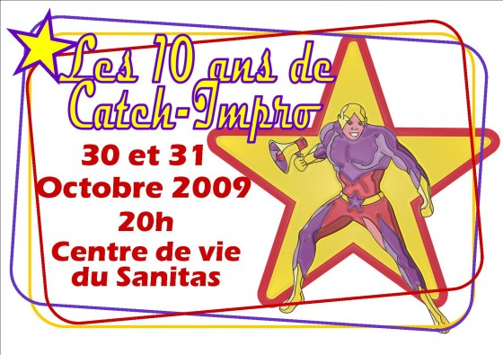 Affiche 10 ans Catch Impro Tours