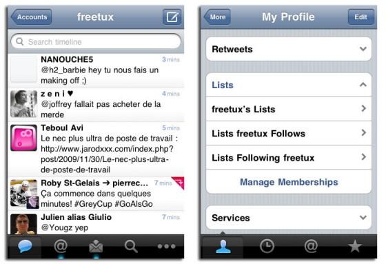 Tweetie 2.1 sur iPhone implémente la fonction de retweet