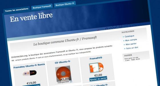 EnVenteLibre.org la boutique en ligne d'objets Framasoft et Ubuntu