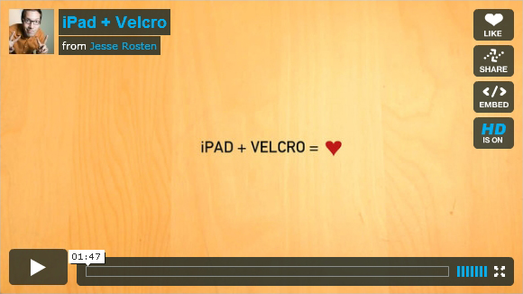 ipad + velcro = love